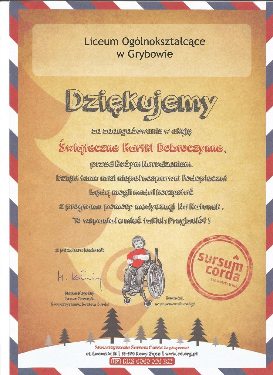 Samorząd Uczniowski pomaga niepełnosprawnym